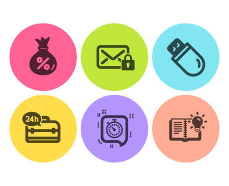 Timer, Secure mail and Loan icons simple set. 24h service, Usb stick and Product knowledge signs. Time management, Private e-mail. Business set. Flat timer icon. Circle button. Vector Foto de archivo - 121271014