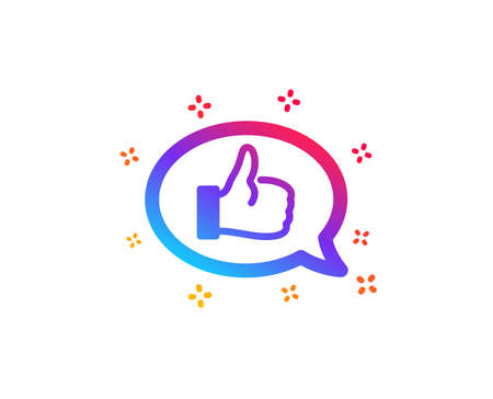 Positive feedback icon. Communication symbol. Speech bubble sign. Dynamic shapes. Gradient design feedback icon. Classic style. Vector Illusztráció