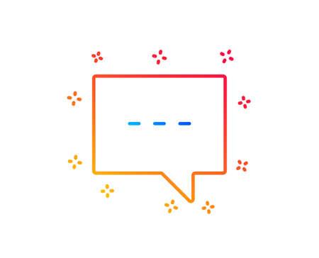 Chat line icon. Speech bubble sign. Communication or Comment symbol. Gradient design elements. Linear blog icon. Random shapes. Vector Illustration