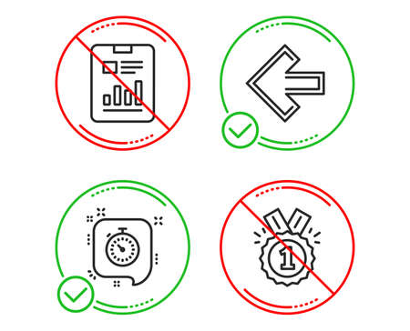 Do or Stop. Report document, Left arrow and Timer icons simple set. Approved sign. Page with charts, Direction arrow, Time management. Winner badge. Business set. Line report document do icon. Vector