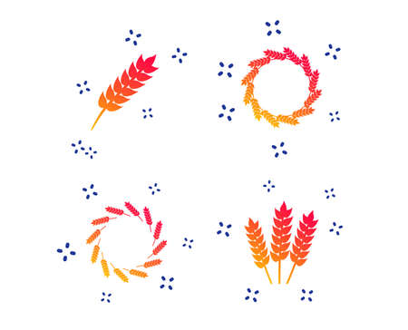Agricultural icons. Gluten free or No gluten signs. Wreath of Wheat corn symbol. Random dynamic shapes. Gradient gluten icon. Vector Çizim