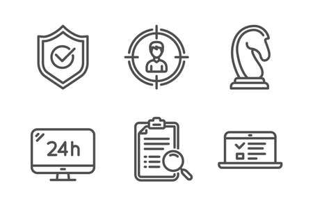 Search analysis, Marketing strategy and Headhunting icons simple set. 24h service, Approved shield and Web lectures signs. Find survey, Chess knight. Line search analysis icon. Editable stroke. Vector