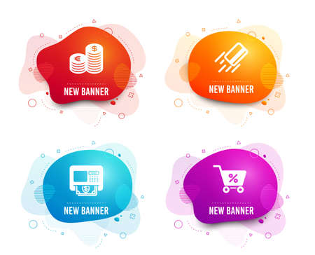 Liquid badges. Set of Atm, Currency and Credit card icons. Special offer sign. Money withdraw, Euro and usd, Bank payment. Discounts.  Gradient atm icon. Flyer fluid design. Abstract shapes. Vector
