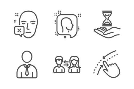Time hourglass, Face declined and Human icons simple set. Head, People communication and Swipe up signs. Sand watch, Identification error. People set. Line time hourglass icon. Editable stroke. Vector Ilustração