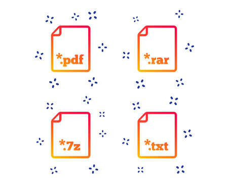 Download document icons. File extensions symbols. PDF, RAR, 7z and TXT signs. Random dynamic shapes. Gradient file icon. Vector Illustration