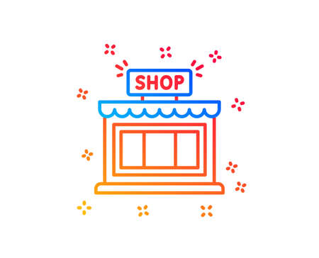 Shop line icon. Store symbol. Shopping building sign. Gradient design elements. Linear shop icon. Random shapes. Vector