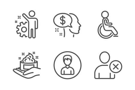 Skin care, Disabled and Pay icons simple set. Employee, Person and Delete user signs. Hand cream, Handicapped wheelchair. People set. Line skin care icon. Editable stroke. Vector Standard-Bild - 121801199