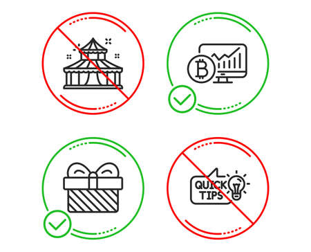 Do or Stop. Circus, Gift and Bitcoin chart icons simple set. Education idea sign. Attraction park, Present, Cryptocurrency statistics. Quick tips. Business set. Line circus do icon. Vector