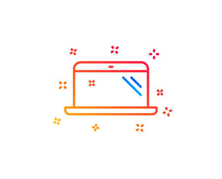 Laptop line icon. Mobile computer device sign. Gradient design elements. Linear laptop icon. Random shapes. Vector