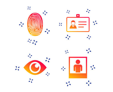 Identity ID card badge icons. Eye and fingerprint symbols. Authentication signs. Photo frame with human person. Random dynamic shapes. Gradient document icon. Vector