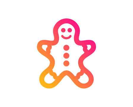 Gingerbread man icon. Ginger cookie sign. Sweet holiday food symbol. Classic flat style. Gradient gingerbread man icon. Vector