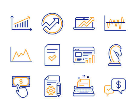 Checked file, Diagram and Typewriter icons simple set. Web report, Stock analysis and Chart signs. Payment click, Audit and Documentation symbols. Line checked file icon. Colorful set. Editable stroke