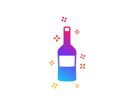 Wine bottle icon. Merlot or Cabernet Sauvignon sign. Dynamic shapes. Gradient design wine icon. Classic style. Vector