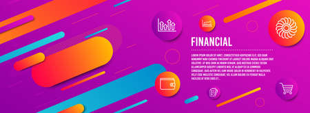 Header banner. Money wallet, Survey checklist and Upper arrows icons simple set. Trade chart, Fan engine and Market sale signs. Payment method, Report. Finance set. Line money wallet icon. Vector