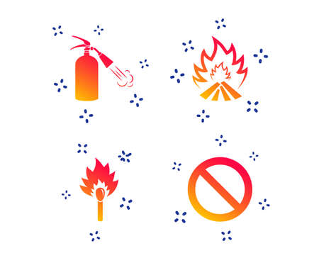 Fire flame icons. Fire extinguisher sign. Prohibition stop symbol. Burning matchstick. Random dynamic shapes. Gradient extinguisher icon. Vector
