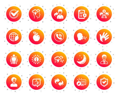 Check mark, Sharing economy and Mindfulness stress, Breath people icons. Privacy Policy, Social Responsibility, Breath icons. Bad weather, Tick check mark, sharing refer, stress. Gradient buttons set