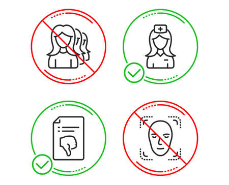 Do or Stop. Thumb down, Women headhunting and Hospital nurse icons simple set. Face detection sign. Decline file, Women teamwork, Medical assistant. Detect person. People set. Line thumb down do icon Illustration
