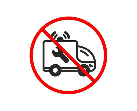 No or Stop. Spanner tool icon. Car repair service sign. Fix instruments symbol. Prohibited ban stop symbol. No car service icon. Vector