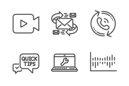E-mail, Quick tips and Video camera icons simple set. Laptop repair, Call center and Column diagram signs. Communication by letters, Helpful tricks. Business set. Line e-mail icon. Editable stroke Ilustrace