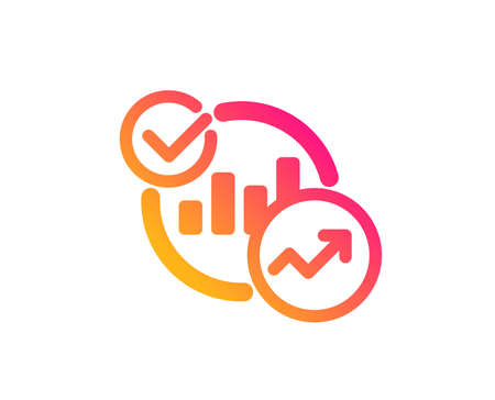 Charts, Statistics icon. Report graph or Sales growth sign. Analytics data symbol. Classic flat style. Gradient statistics icon. Vector 일러스트