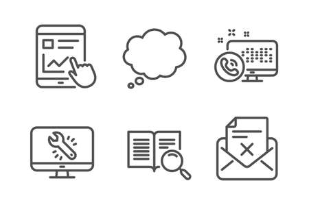 Web call, Comic message and Internet report icons simple set. Search text, Monitor repair and Reject letter signs. Phone support, Speech bubble. Technology set. Line web call icon. Editable stroke Illustration