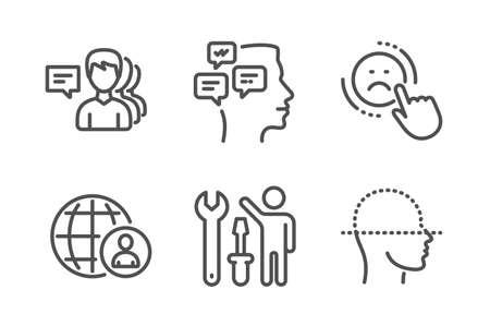 Conjunto simple de iconos de reparador, personas y mensajes. No me gusta, reclutamiento internacional y letreros de escaneo facial. Destornillador de reparación, trabajo de apoyo. Conjunto de personas. Icono de reparador de línea. Trazo editable. Vector