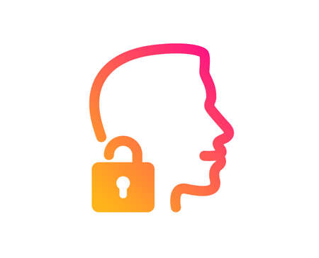 Face accepted icon. Access granted sign. Unlock system symbol. Classic flat style. Gradient unlock system icon. Vector Illustration