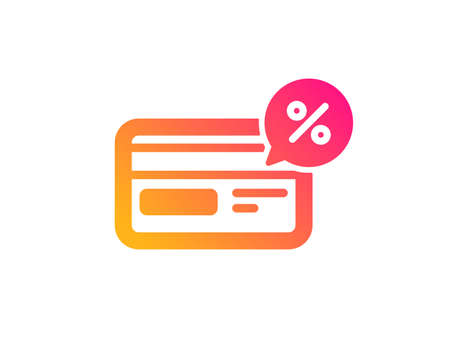 Credit card icon. Banking Payment card with Discount sign. Cashback service symbol. Classic flat style. Gradient cashback icon. Vector