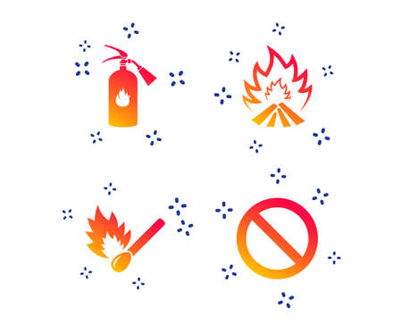 Fire flame icons. Fire extinguisher sign. Prohibition stop symbol. Burning matchstick. Random dynamic shapes. Gradient fire icon. Vector Illustration