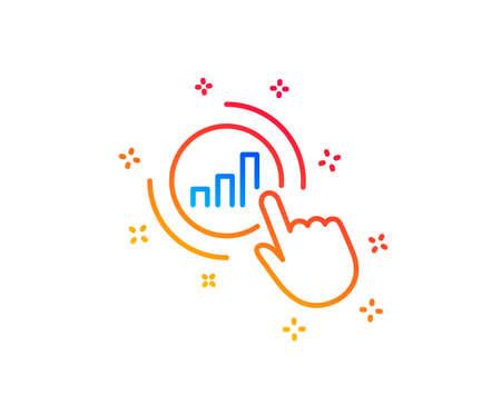 Statistics line icon. Column chart sign. Growth graph diagram symbol. Gradient design elements. Linear graph chart icon. Random shapes. Vector Illustration