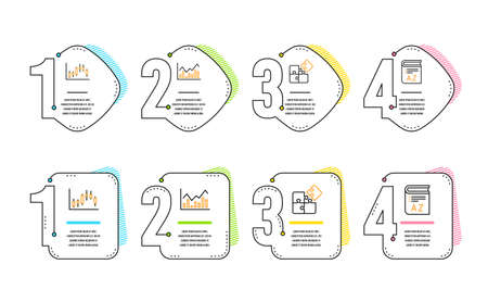 Candlestick graph, Infochart and Puzzle icons simple set. Vocabulary sign. Finance chart, Stock exchange, Engineering strategy. Book. Science set. Infographic timeline. Line candlestick graph icon