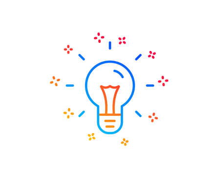 Idea line icon. Light bulb sign. Copywriting symbol. Gradient design elements. Linear idea icon. Random shapes. Vector