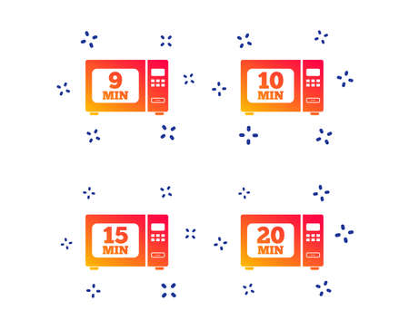 Microwave oven icons. Cook in electric stove symbols. Heat 9, 10, 15 and 20 minutes signs. Random dynamic shapes. Gradient microwave icon. Vector