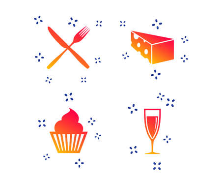 Food icons. Muffin cupcake symbol. Fork and knife sign. Glass of champagne or wine. Slice of cheese. Random dynamic shapes. Gradient dessert icon. Vector