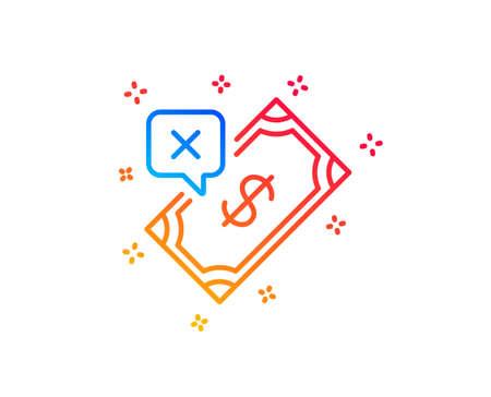 Rejected Payment line icon. Dollar money sign. Finance symbol. Gradient design elements. Linear rejected Payment icon. Random shapes. Vector Illusztráció