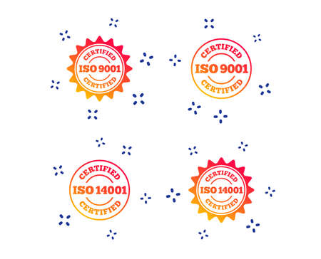 ISO 9001 and 14001 certified icons. Certification star stamps symbols. Quality standard signs. Random dynamic shapes. Gradient certification icon. Vector Illustration
