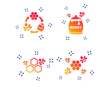 Honey icon. Honeycomb cells with bees symbol. Sweet natural food signs. Random dynamic shapes. Gradient honey icon. Vector