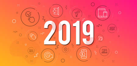 Infographic concept. Graph laptop, Reject protection and Phone payment icons simple set. Update time, Sign out and Star signs. Mobile devices, Online help and Checkbox symbols. 2019 year. Vector