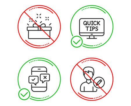 Do or Stop. Present box, Web tutorials and Phone survey icons simple set. Edit person sign. Sale offer, Quick tips, Mobile quiz test. Change user info. Line present box do icon. Prohibited ban stop