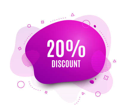 Fluid badge. 20% Discount. Sale offer price sign. Special offer symbol. Abstract shape. Color gradient sale banner. Flyer liquid design. Vector