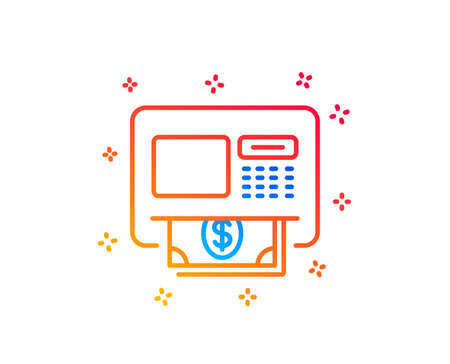 ATM line icon. Money withdraw sign. Payment machine symbol. Gradient design elements. Linear aTM icon. Random shapes. Vector Иллюстрация