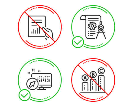 Do or Stop. Web system, Document and Divider document icons simple set. Graph chart sign. Computer, File with diagram, Report file. Growth report. Science set. Line web system do icon. Vector