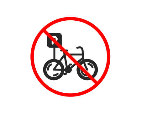 No or Stop. Bicycle parking icon. Bike park sign. Public transport place symbol. Prohibited ban stop symbol. No bicycle parking icon. Vector Иллюстрация
