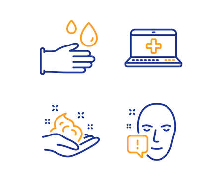 Skin care, Medical help and Rubber gloves icons simple set. Face attention sign. Hand cream, Medicine laptop, Hygiene equipment. Exclamation mark. Healthcare set. Linear skin care icon. Vector Stock Illustratie