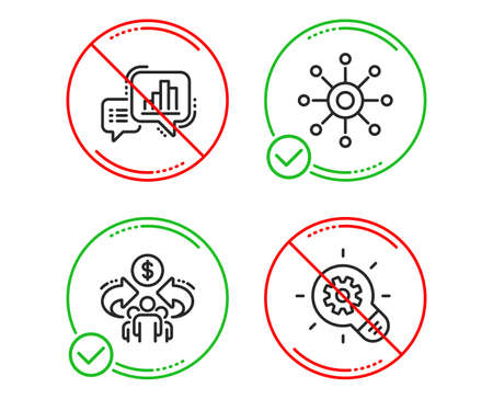 Do or Stop. Graph chart, Multichannel and Sharing economy icons simple set. Cogwheel sign. Growth report, Multitasking, Share. Idea bulb. Science set. Line graph chart do icon. Prohibited ban stop Stock Vector - 122772450