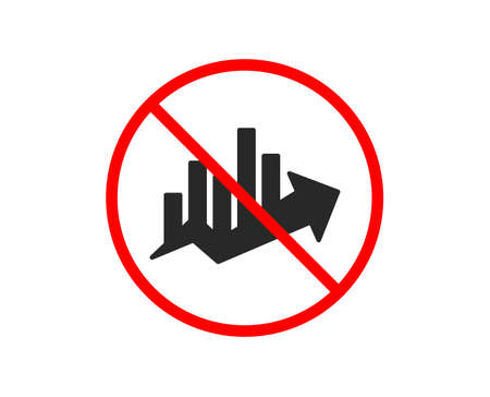 No or Stop. Growth chart icon. Discount sign. Sale diagram symbol. Prohibited ban stop symbol. No growth chart icon. Vector