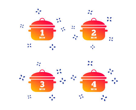 Cooking pan icons. Boil 1, 2, 3 and 4 minutes signs. Stew food symbol. Random dynamic shapes. Gradient boil icon. Vector