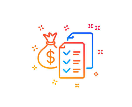 Accounting wealth line icon. Audit report sign. Check finance symbol. Gradient design elements. Linear accounting wealth icon. Random shapes. Vector