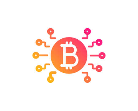 Bitcoin system icon. Cryptocurrency scheme sign. Crypto money symbol. Classic flat style. Gradient bitcoin system icon. Vector Ilustração