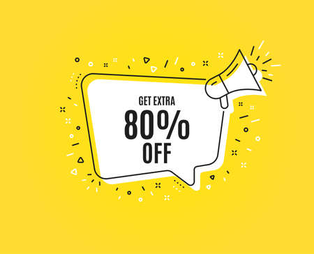 Get Extra 80% off Sale. Megaphone banner. Discount offer price sign. Special offer symbol. Save 80 percentages. Loudspeaker with speech bubble. Extra discount sign. Vector